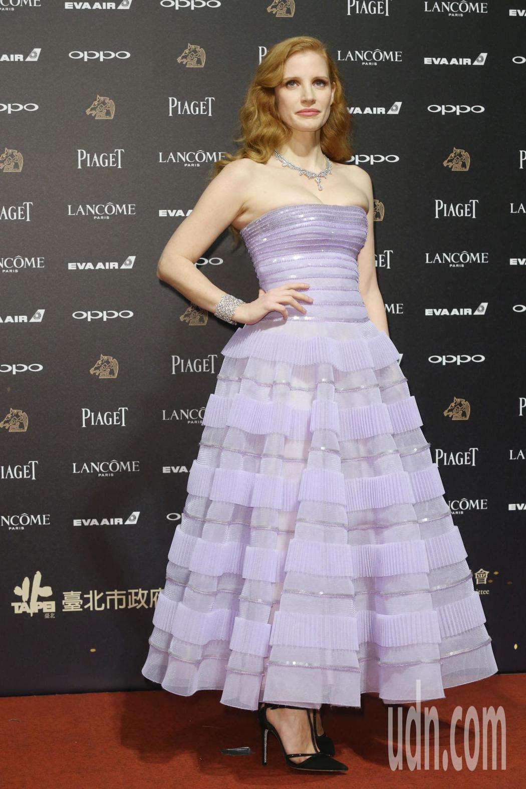 第五十四屆金馬獎頒獎嘉賓潔西卡雀絲坦走紅毯。記者林俊良╱攝影