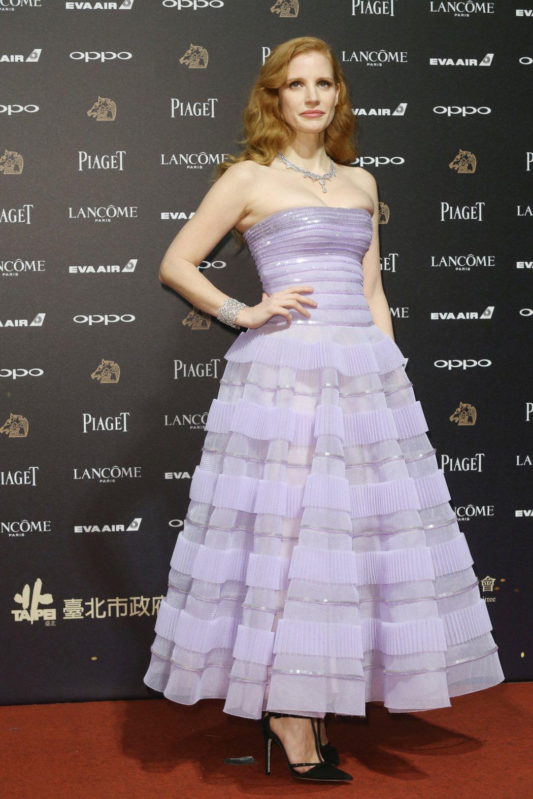 第五十四屆金馬獎頒獎嘉賓潔西卡雀絲坦走紅毯。記者林俊良/攝影
