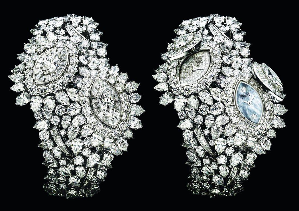 Limelight系列葉子造型頂級珠寶神秘腕表,18K白金鑲嵌鑽石,5800萬元...