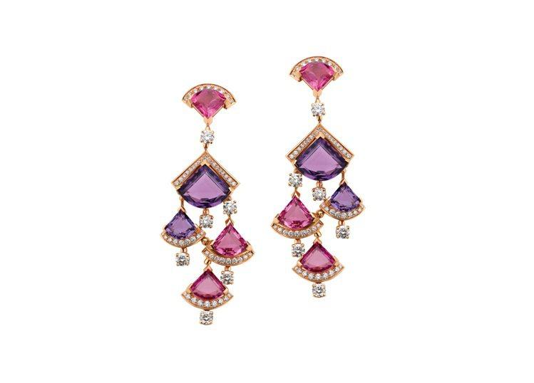 BVLGARI Divas' Dream系列桃紅碧璽與紫水晶耳環,129萬7,0...