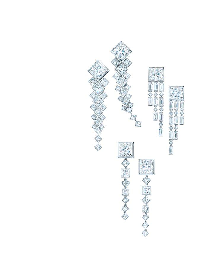Tiffany 鉑金鑲鑽耳環 ,下為小S佩戴款,約1,000萬元。圖/Tiffa...
