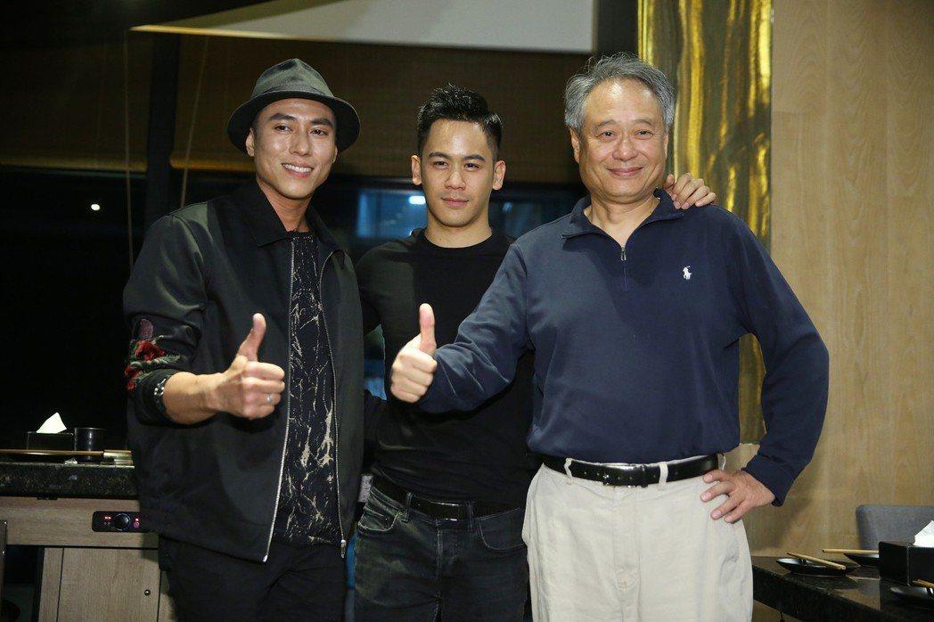 《目擊者》慶功宴,演員莊凱勛(左起)、李淳、導演李安一起受訪。記者楊萬雲/攝影