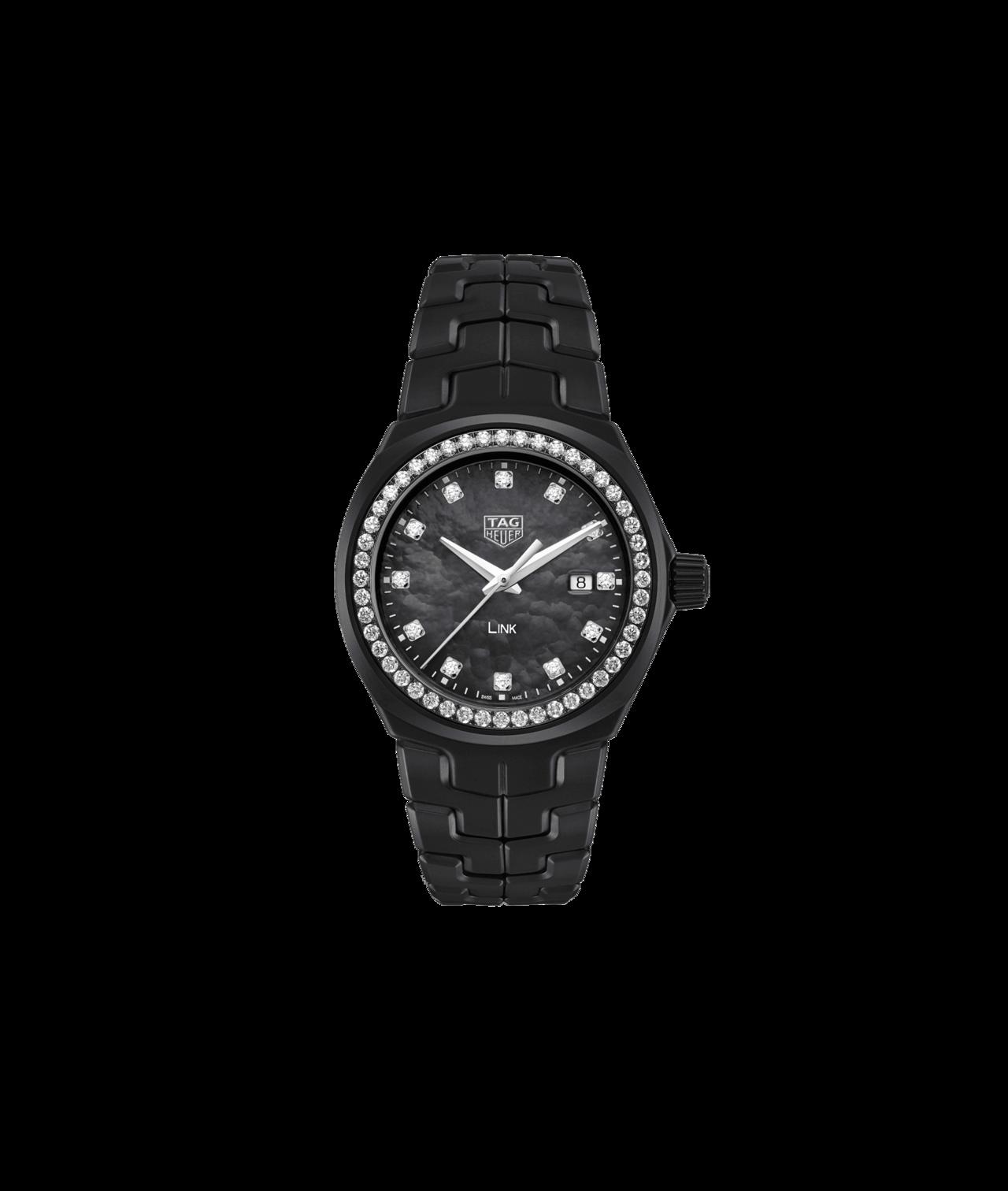 泰格豪雅Bella Hadid限量版Link系列鑲鑽腕表,表鍊、表殼皆為黑色陶瓷...