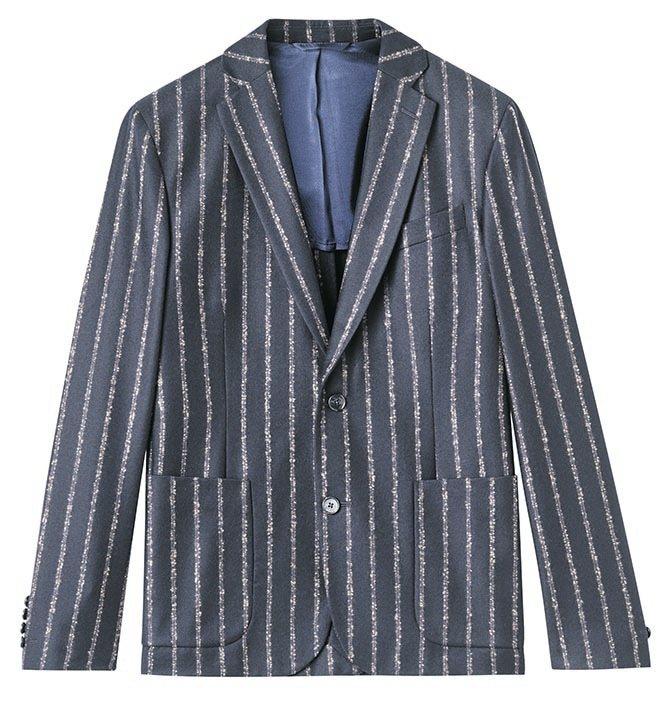 J.Lindeberg的直條紋毛料獵裝外套,約19,980元。圖/J.Linde...