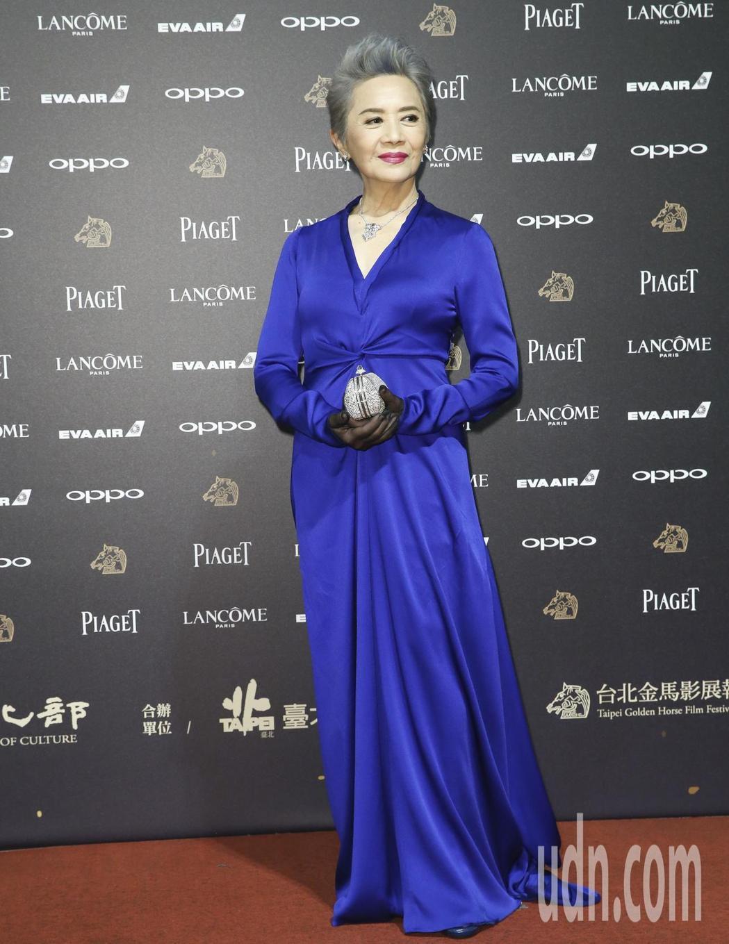 葉德嫻現身第54屆金馬獎落幕,標準配備「手套」依舊不離身。記者/林俊良攝影