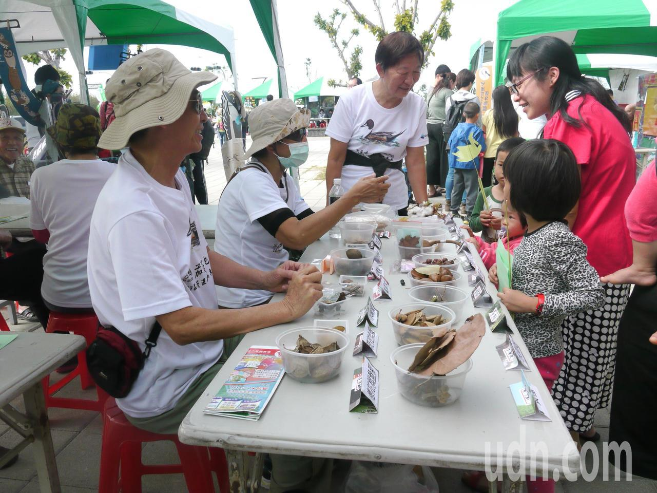 許多保育團體參與「茄萣濕地生態候鳥季」,志工教導小朋友認識樹木種子。記者徐白櫻/...