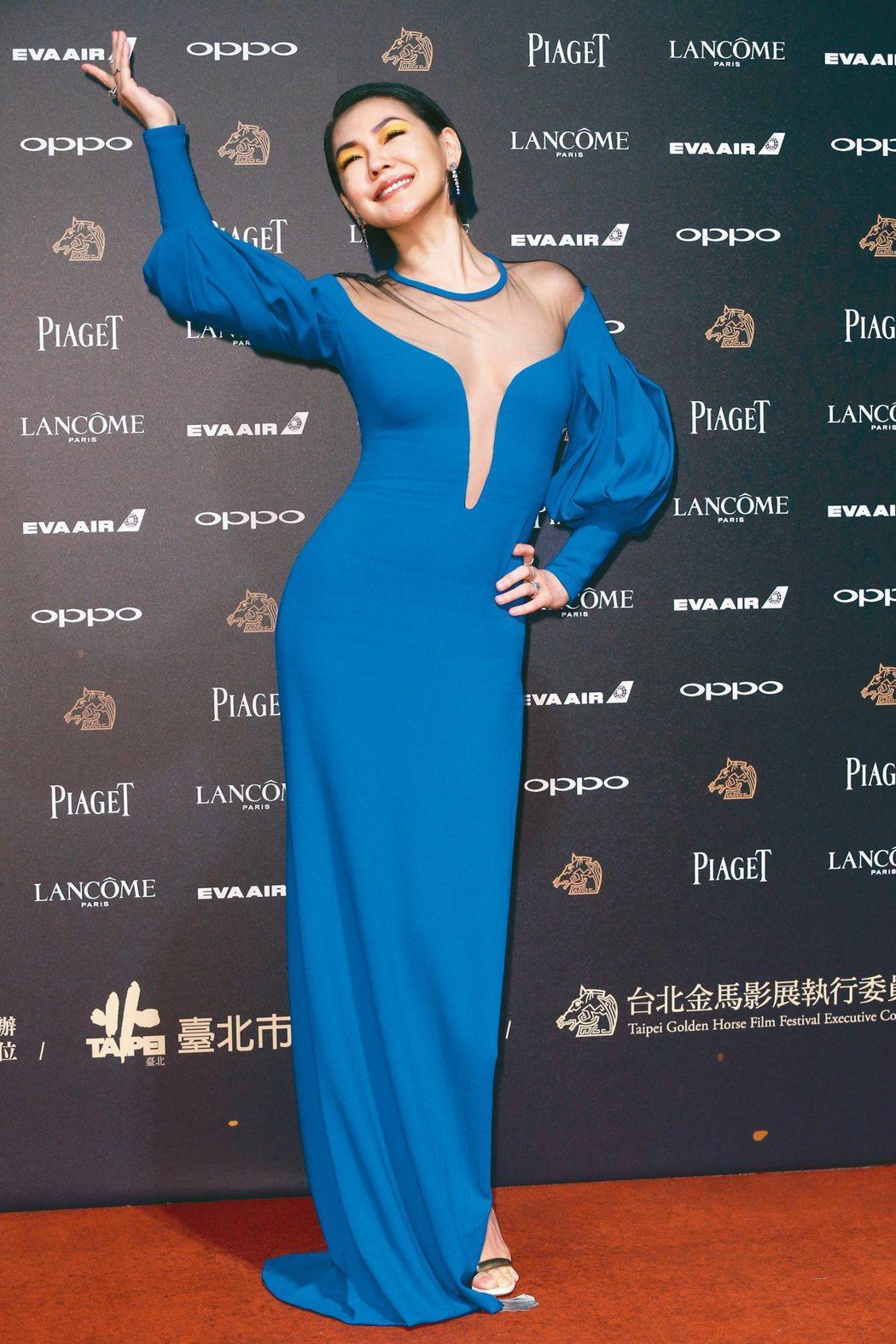 小S在金馬54紅毯身穿La Perla禮服、CASADEI跟鞋,配戴Tiffan...