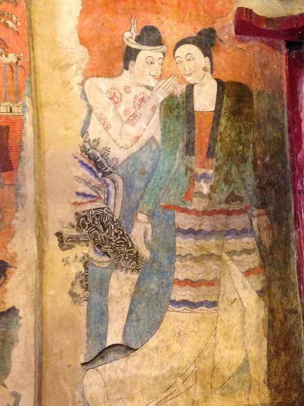 楠府普明寺的一幅壁畫,可見當時人民生活情景。圖/泰國觀光局提供