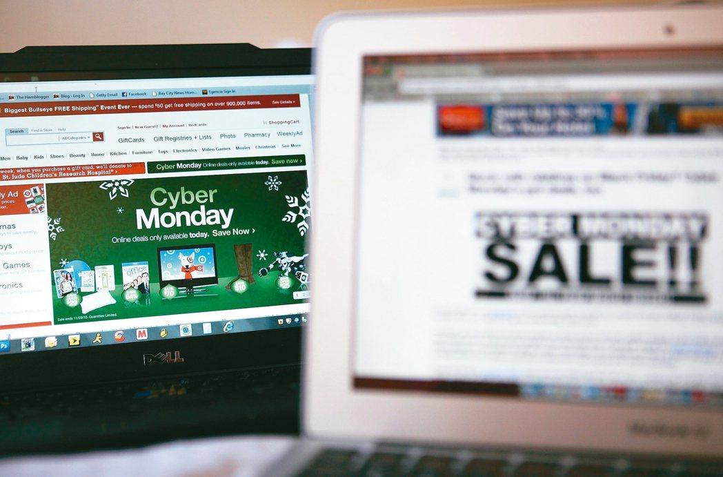 「黑色星期五」購物熱潮帶動網路消費額創下紀錄,網路零售業者積極備戰即將到來的「網購星期一」。 法新社