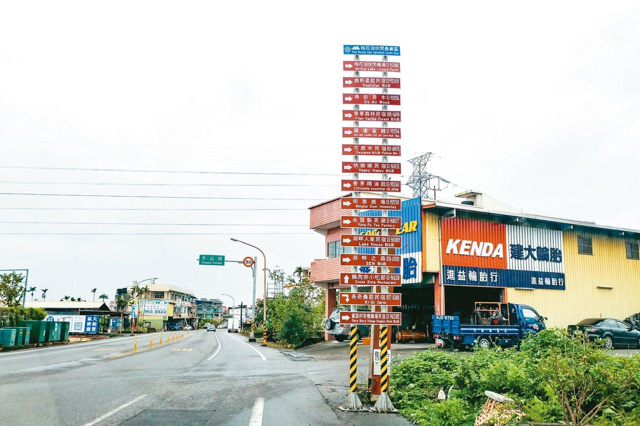宜蘭民宿多,市場競爭激烈,圖為冬山鄉一處路口民宿指標。 本報資料照片