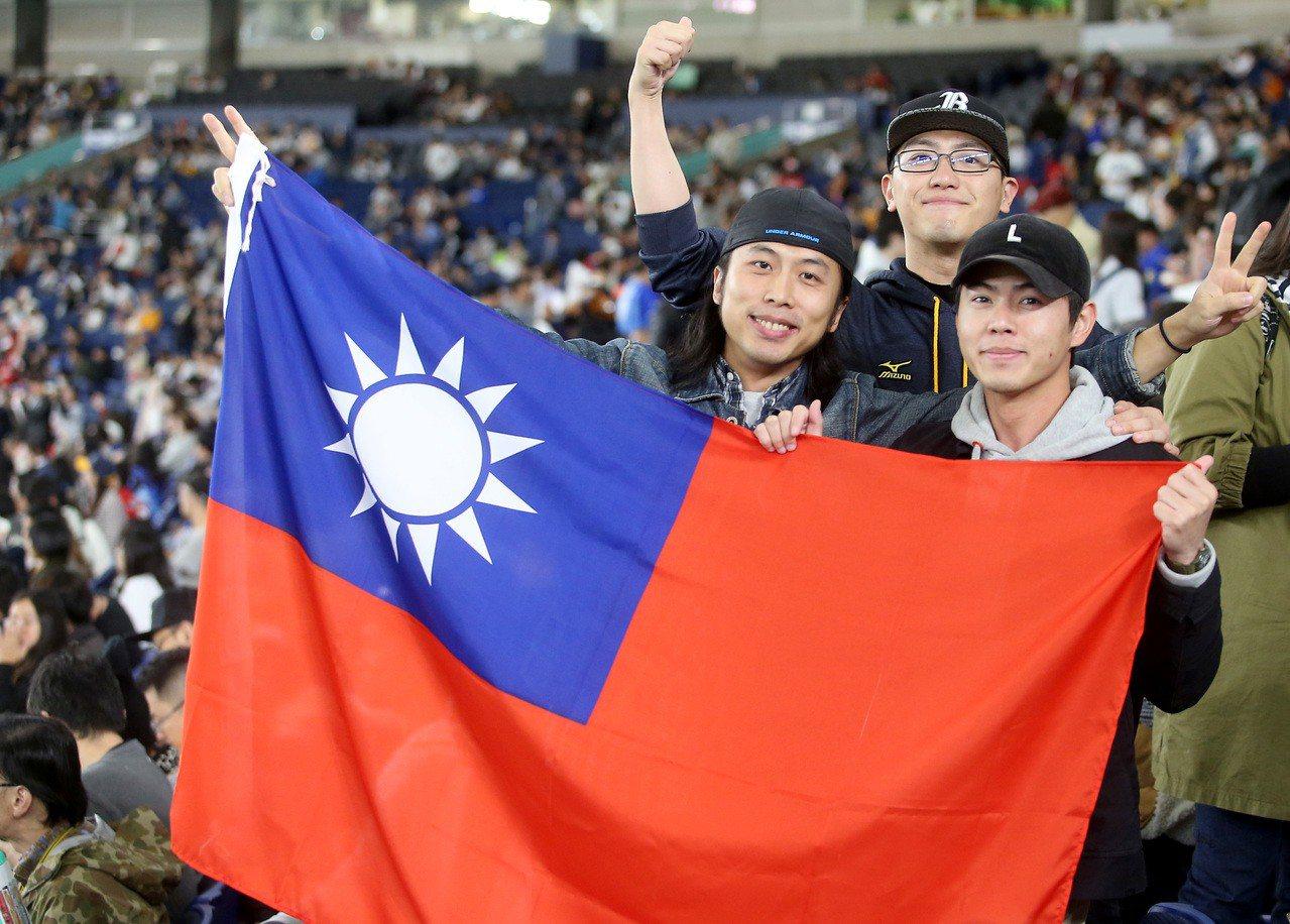 球迷帶著國旗幫中職聯隊加油。聯合報資料照/記者余承翰攝影