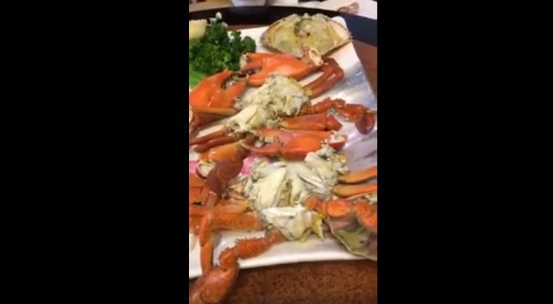 民眾在漁港餐廳點的螃蟹疑遭店家調包。取自YouTube