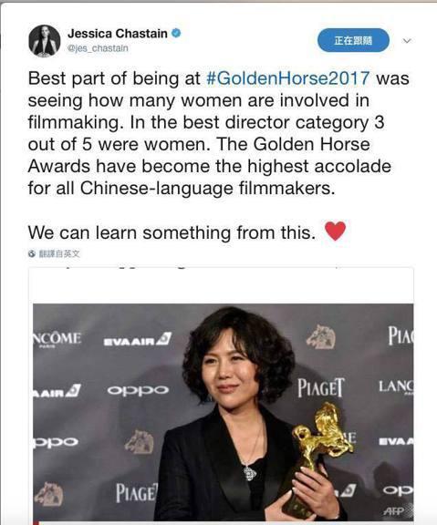 好萊塢明星潔西卡雀絲坦來台擔任金馬獎頒獎嘉賓,她在推特及臉書上狂讚台灣,更在推特上稱讚金馬獎肯定女性電影人的成就,她在推特寫下:「看到有很多女性電影工作者在努力,而且在最佳導演項目中,就有三名女性導...