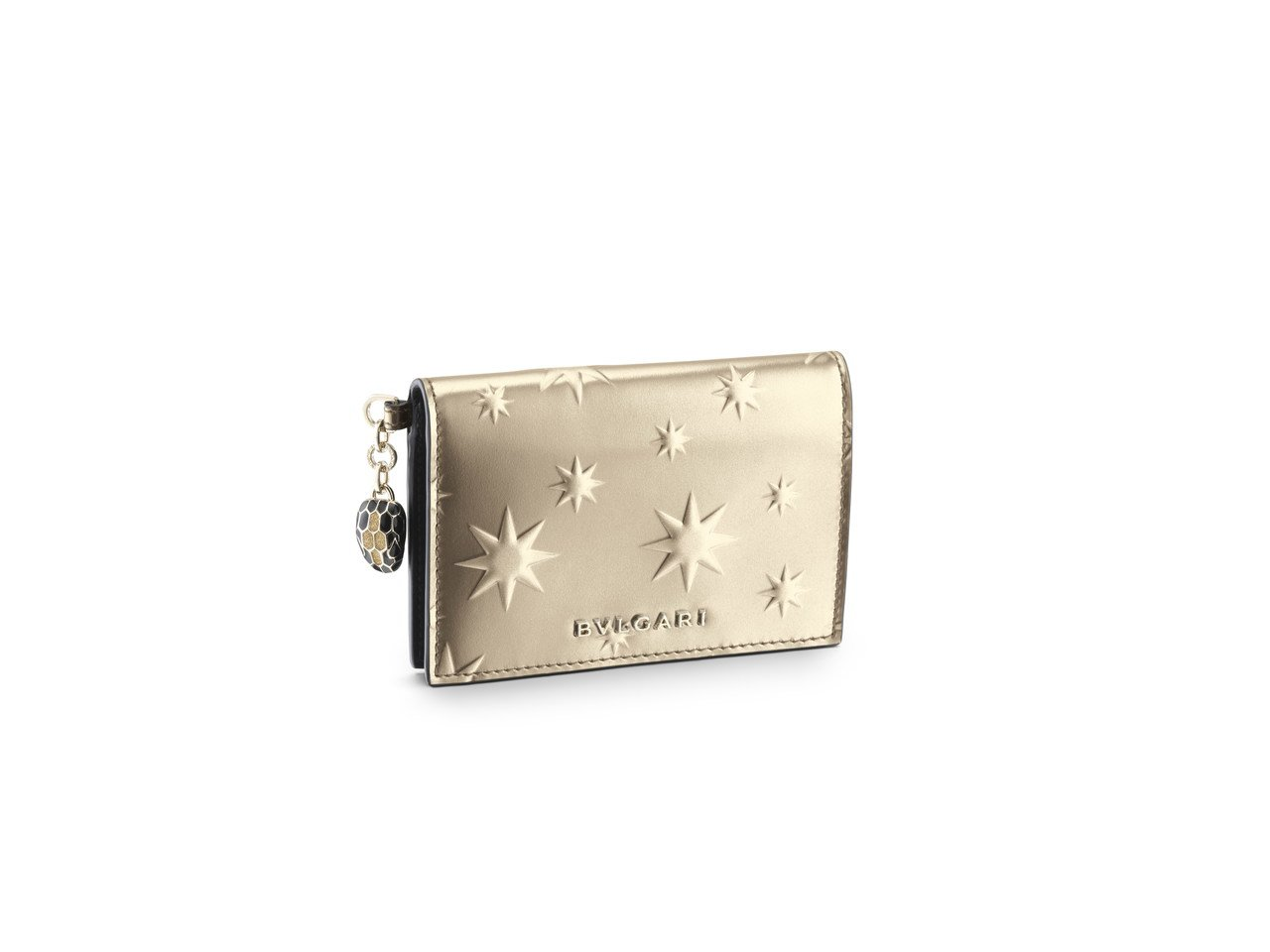 SERPENTI FOREVER冬季佳節系列古銅色小牛皮信用卡夾,12,900元...