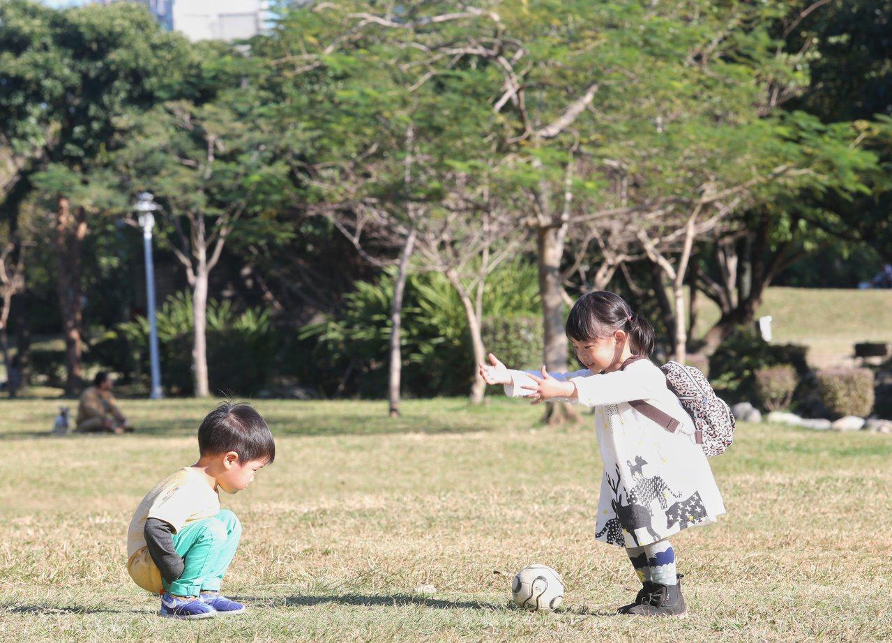 大人、小孩一同到華山藝文特區曬太陽、玩遊戲,把握難得冬陽好天氣。本報資料照/記者...