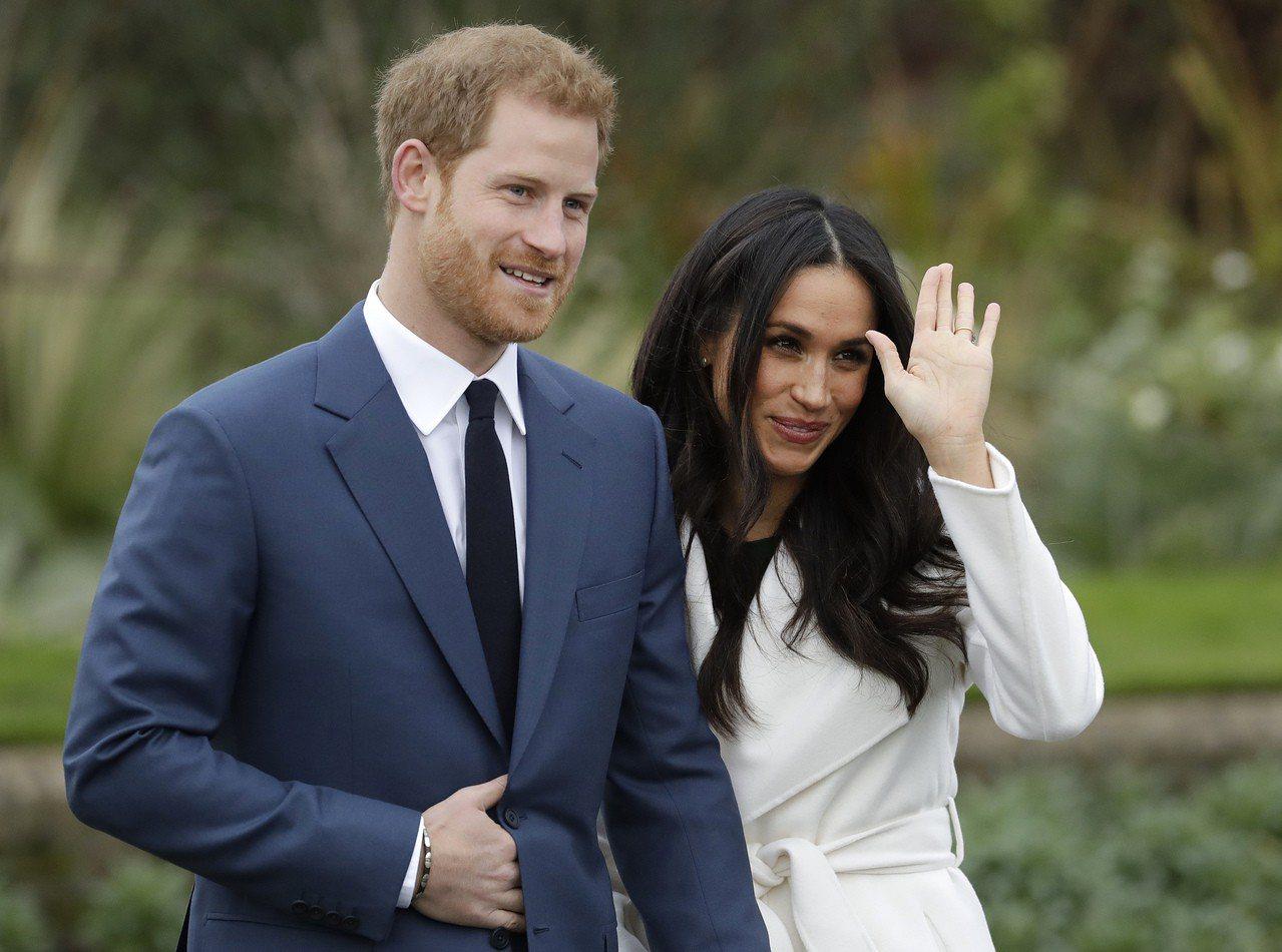 英國哈利王子與未婚妻美國女星梅根馬克爾。美聯社