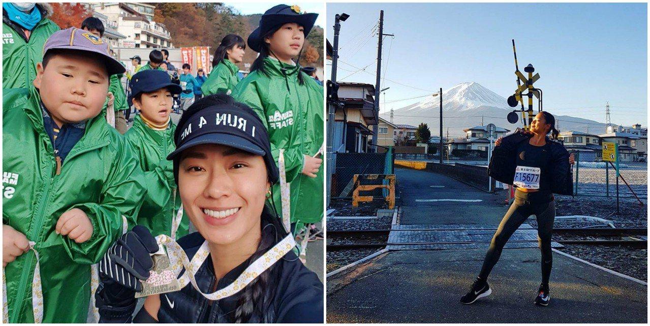 王麗雅剛完成富士山馬拉松42K,她認為「馬拉松不只是流流汗的移動,而是一種生活態度」。圖/摘自王麗雅Facebook粉絲團