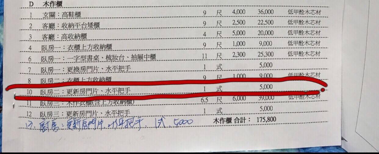 網友貼出了當初裝潢的報價表,要大家評評理圖。擷自爆料公社