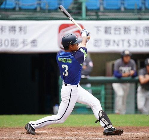 中職打完冬盟前3戰,申皓瑋是唯一轟出全壘打的打者。圖/中華職棒提供