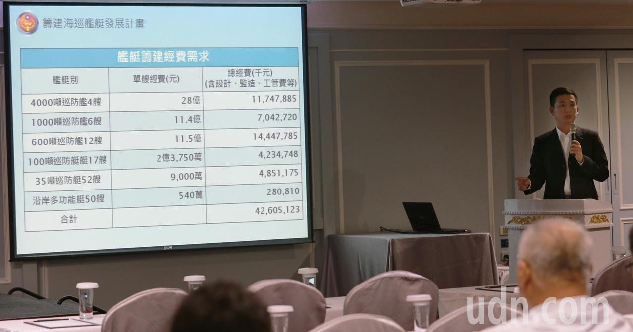海巡署說明「新一代海巡艦艇發展計畫」,計畫在107-116年度,以426億512...