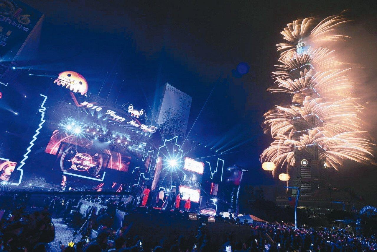 台北101今年煙火燈光秀的建置金額超過6,000萬元,是歷年台北101施放煙火以...