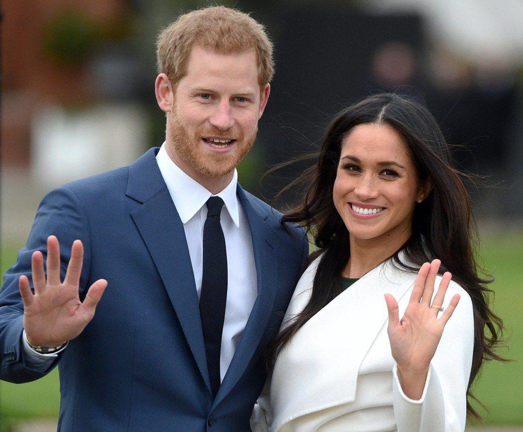英國哈利王子(左)情定美國女演員梅根馬可,將於明年春天完婚。 歐新社