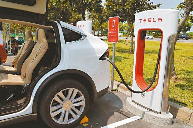 台灣可能全面使用電動車,類似充電站也許將隨處可見。 圖為台南奇美博物館超級充電站...