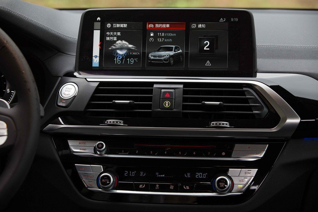 全新世代BMW X3全車系導入最新iDrive 6.0控制系統,搭配全新六角型中控台賦予座艙截然不同的現代豪華面貌。 圖/汎德提供