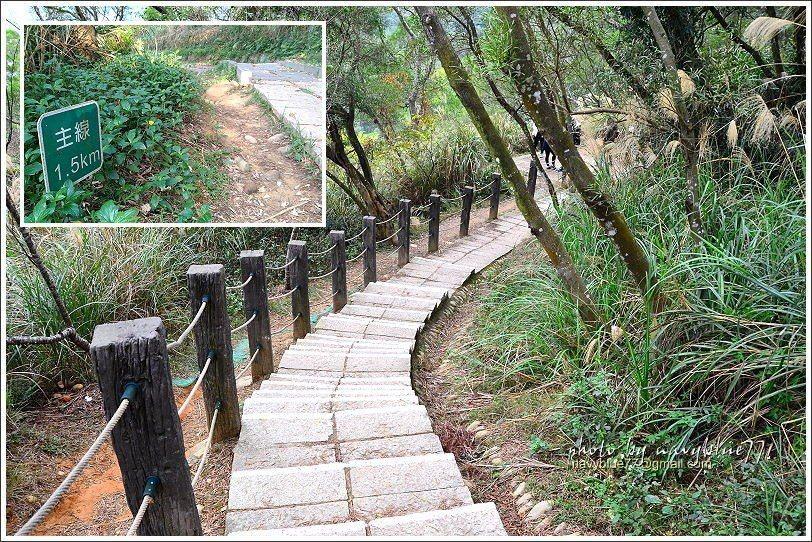 ↑步道全程幾乎都用石板舖設,十分好走。全程坡度和緩,每500公尺設立一支里程牌。