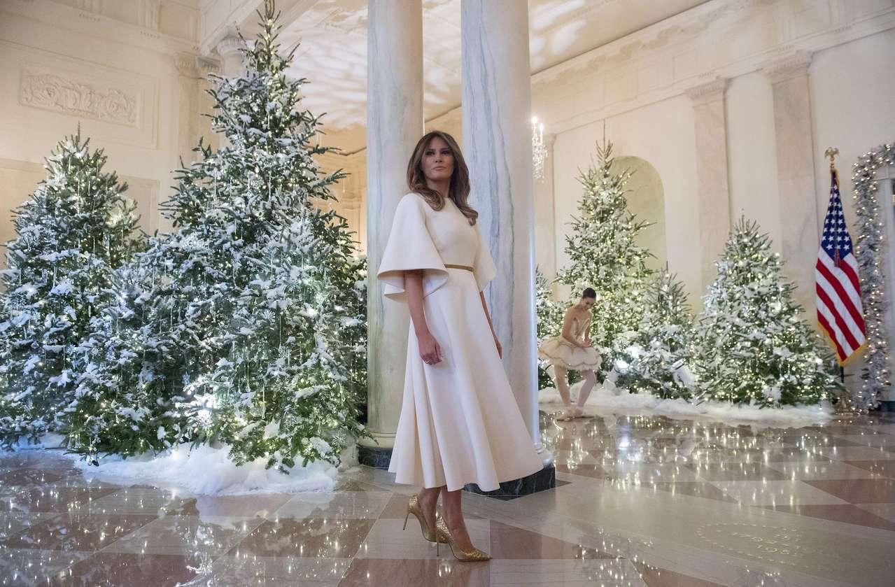 梅蘭妮亞川普穿著Dior秋冬款洋裝妝點白宮耶誕節。(法新社)
