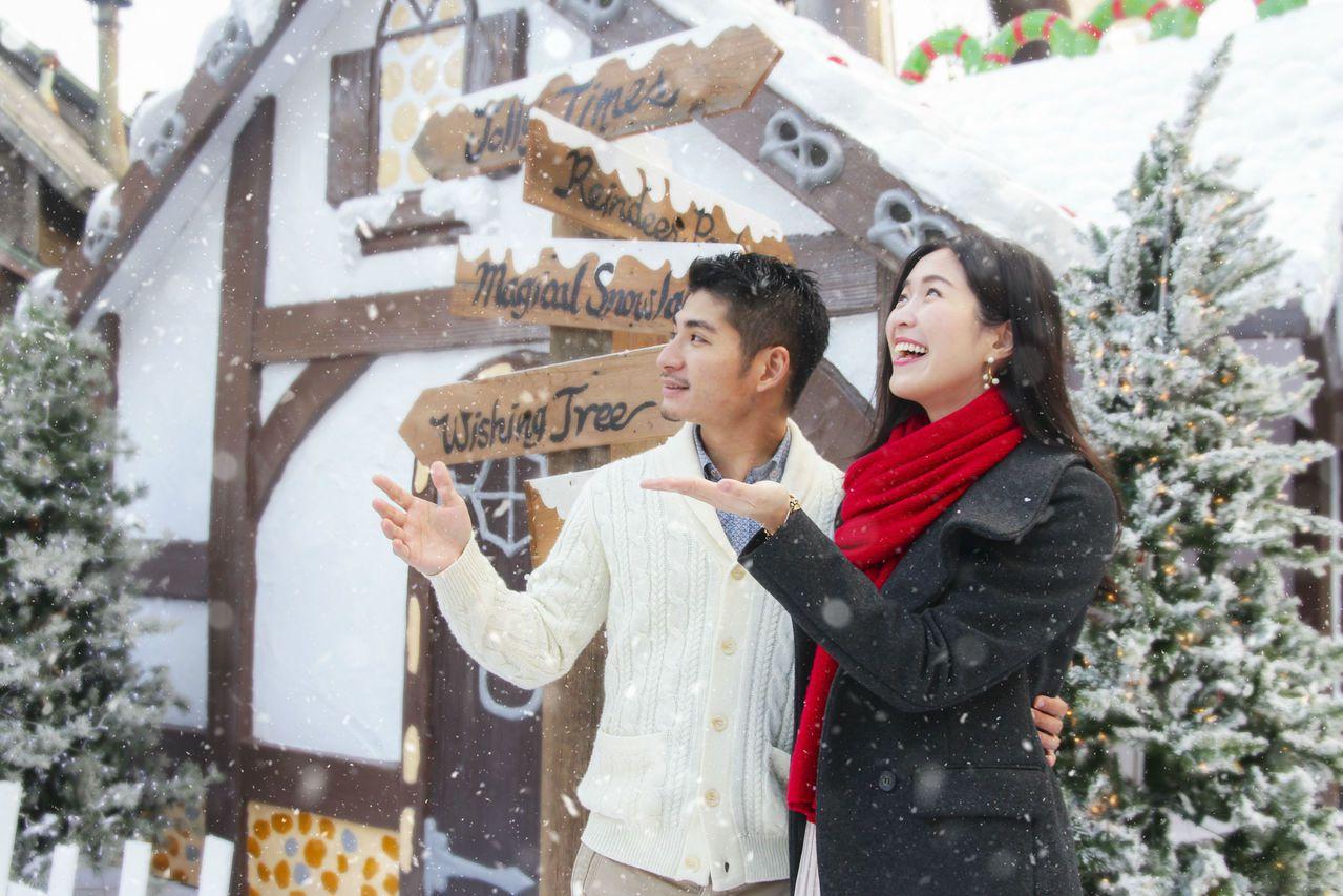 六福村主題遊樂園今年全新打造浪漫的「夢幻白雪耶誕村」。 圖/業者提供