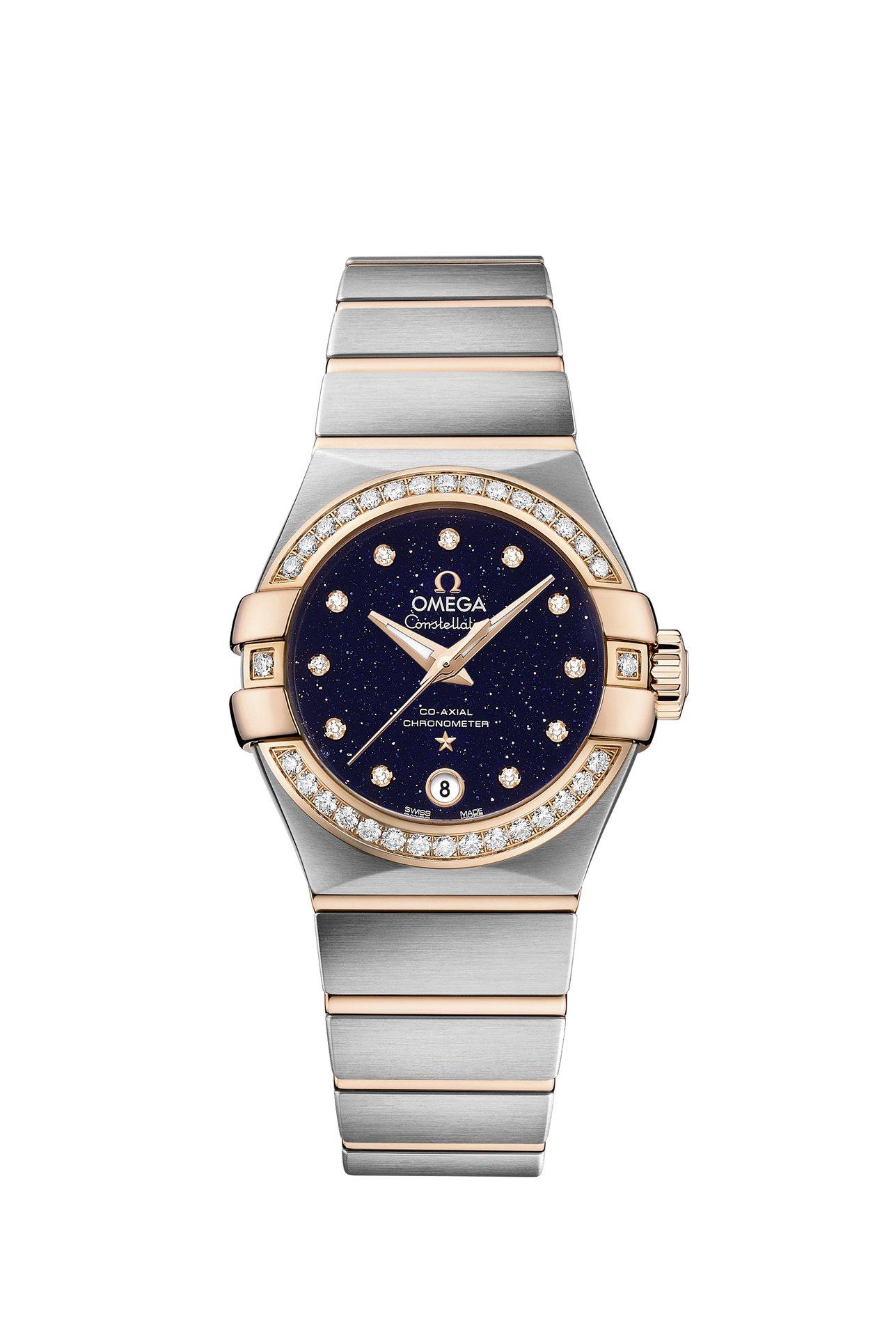 歐米茄新款星座系列大師天文台小秒針女表,精鋼表殼,搭配18K玫瑰金鑲鑽表圈,搭載...