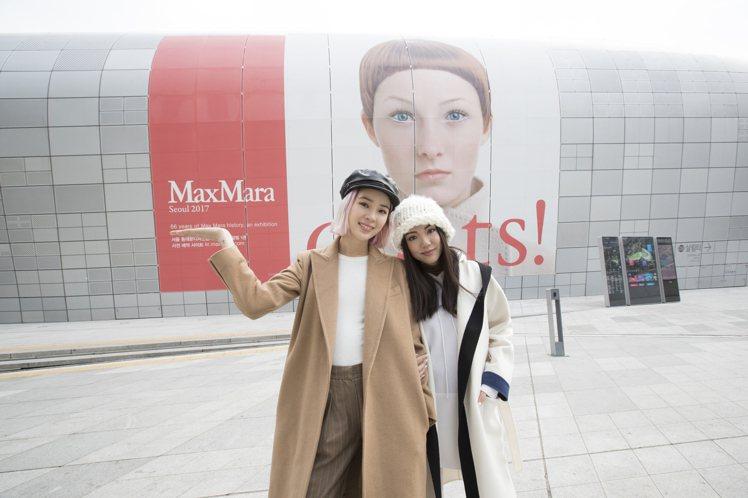 Irene Kim(左)和Yoyo Cao在首爾大衣展合影。圖/Max Mara...