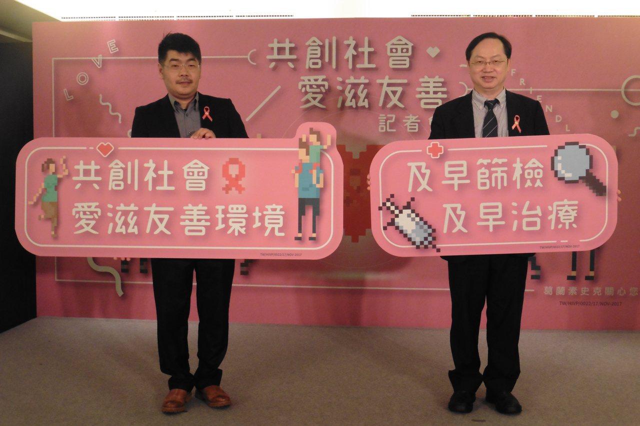 露德協會秘書長徐森杰(左)、台灣愛滋病學會理事長林錫勳(右)呼籲有性行為都應進行...