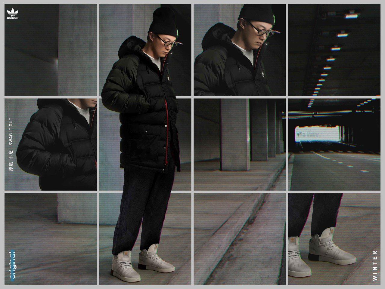 陳奕迅穿灰色圓領衫、adidas Originals新款運動褲,搭配灰色Tubu...