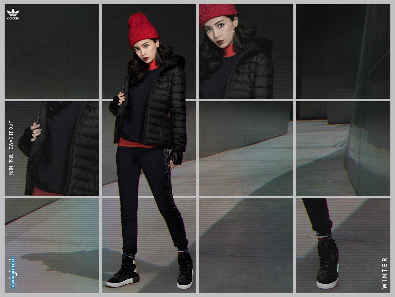Angelababy以紅色針織帽、高領T恤,外搭黑色adidas三片葉大LOGO...