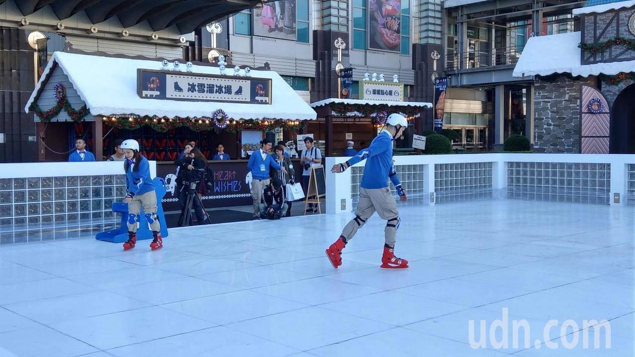冰雪奇緣嘉年華有美國直送來台的「冰雪溜冰場」。記者楊正海/攝影