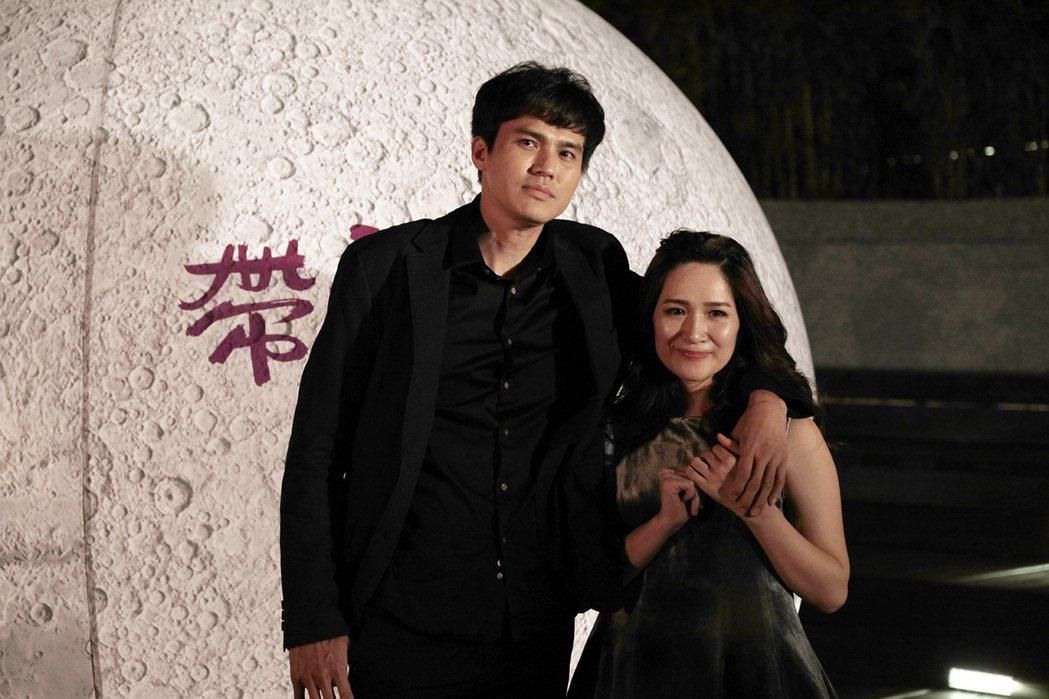 「帶我去月球」在台北舉行首映,大慶與羅美玲出席。圖/星泰提供