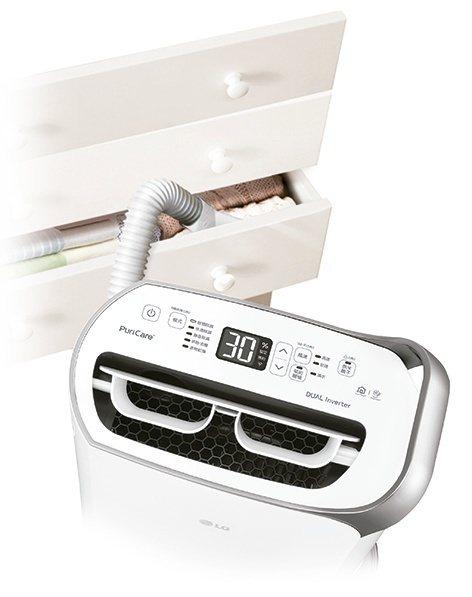 冬天衣櫃密閉潮濕,LG PuriCare變頻除濕機能隨時去除濕氣,保持生活空間的...