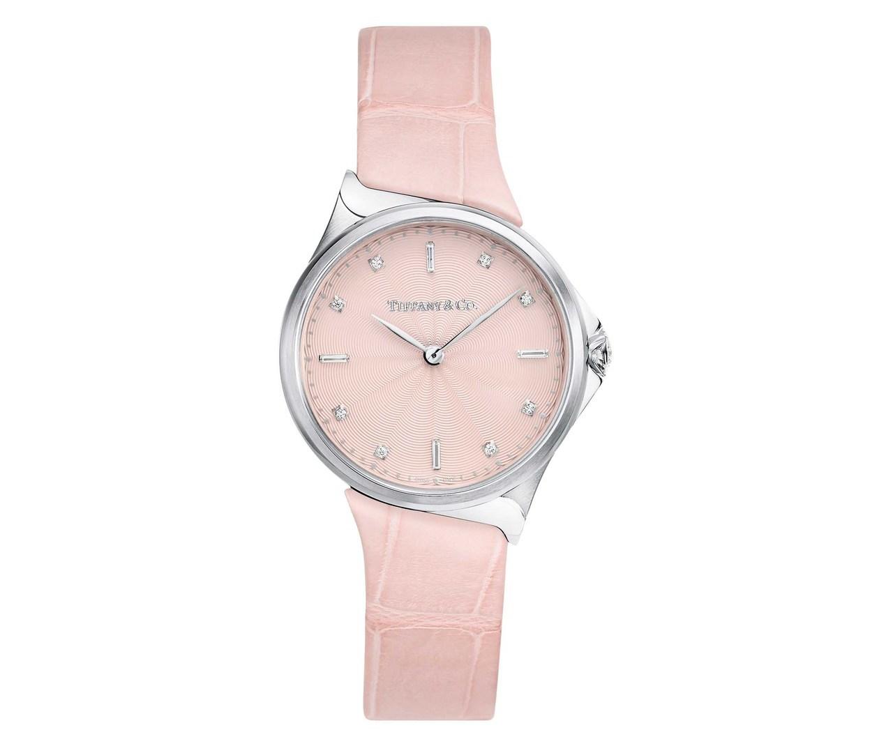 Tiffany Metro 28mm 不鏽鋼粉色鱷魚皮錶帶腕錶 NT$136,0...