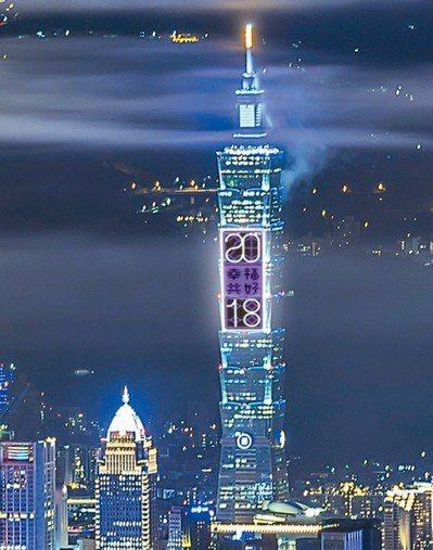 台北101今年史無前例,將架設橫跨7斗、共56層樓高的巨型燈網T-Pad,化身全...