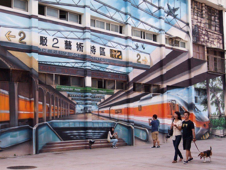「駁二藝術特區」處處充滿超現代的彩繪塗鴉牆面。(圖片提供/欣傳媒)
