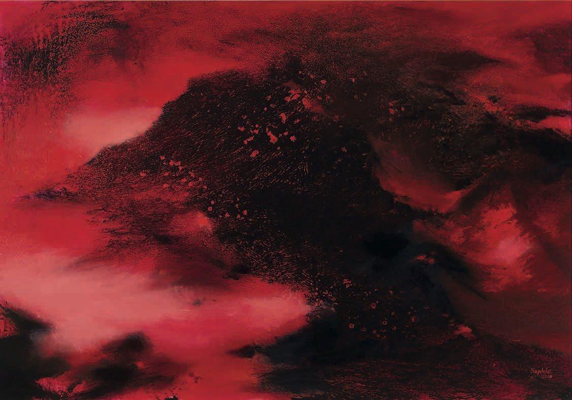 此幅畫作《山之嶺》,如在一片混沌的宇宙中,現出山巔浮日之感。張淑芬曾於清晨時分在...