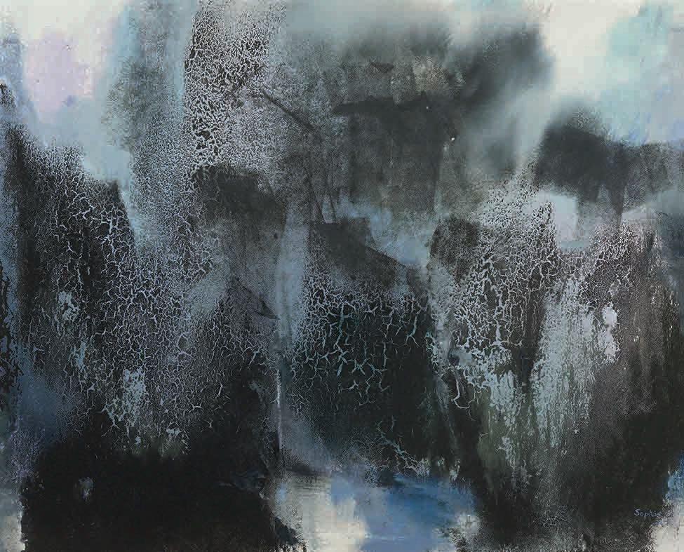 此幅《春晨曙光》是張淑芬「張式技法」的代表作之一,亦是張忠謀最喜愛的畫。此次為羅...