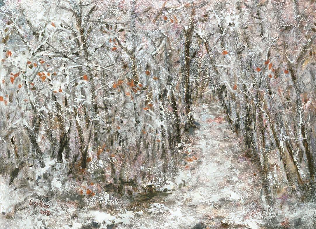 張淑芬對於雪景並不陌生,尤其旅居美國紐約多年,居家正面對著中央公園。歷冬則有大雪...