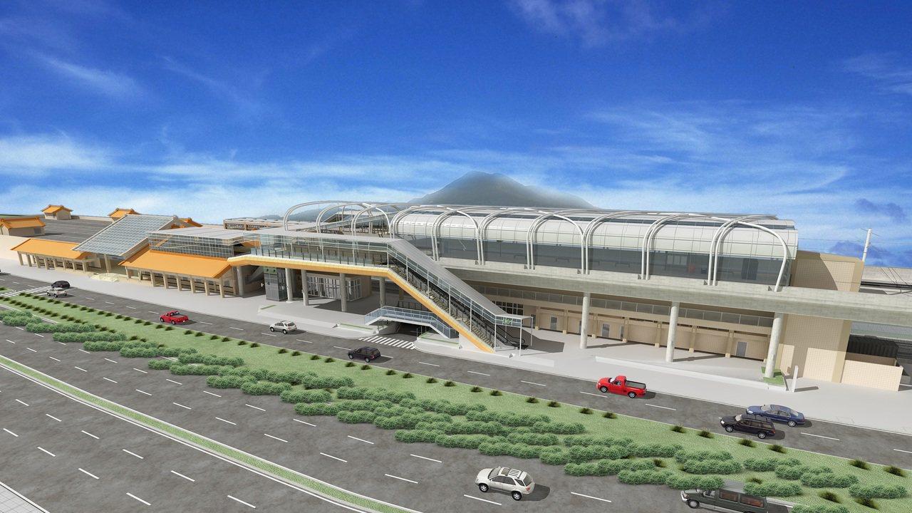 新北市淡海輕軌紅樹林站,完工示意圖預計明年底完工通車。圖/新北捷運局提供