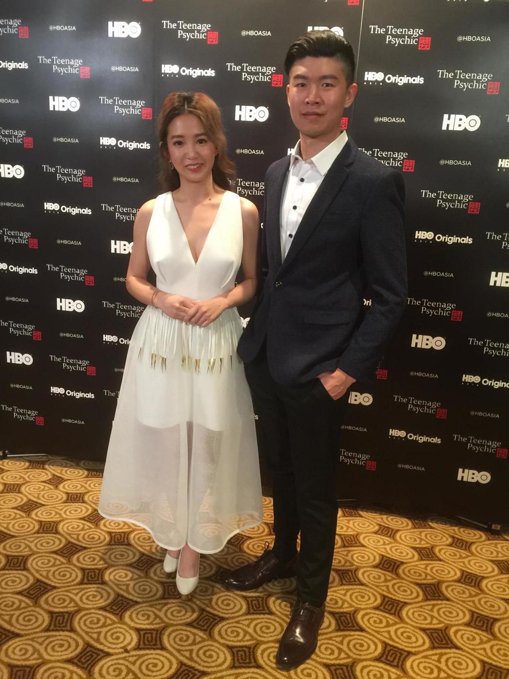 郭書瑤與陳和榆前往新加坡參加HBO ASIA新戲發布會。記者蘇詠智/攝影
