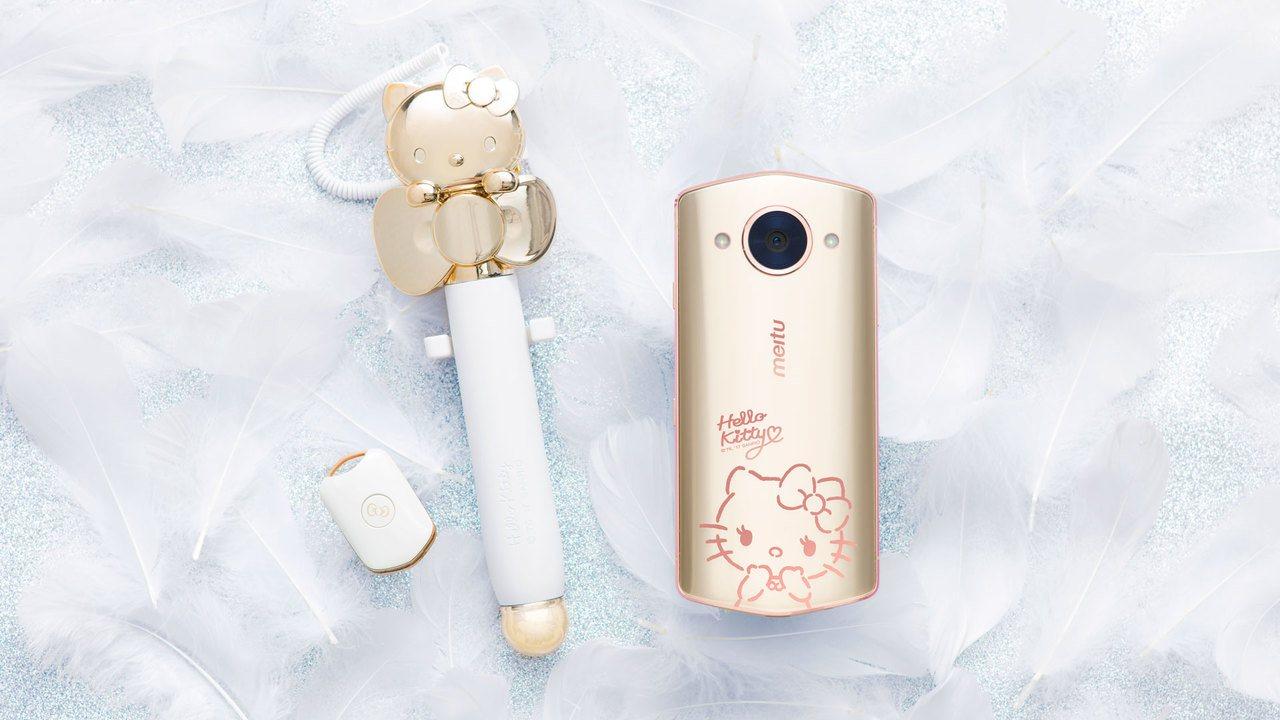 美圖M8s第5代Hello Kitty限量版內含星願蝴蝶結自拍棒、星幻蝴蝶結手機...