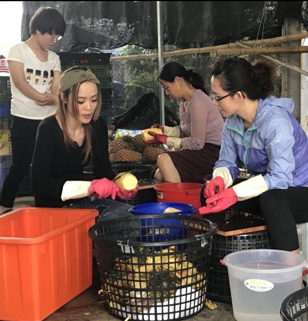 王芊尹(前左1)歷經風災後水果店無人上門的窘境,決定創業製作果乾,增加銷售通路。...