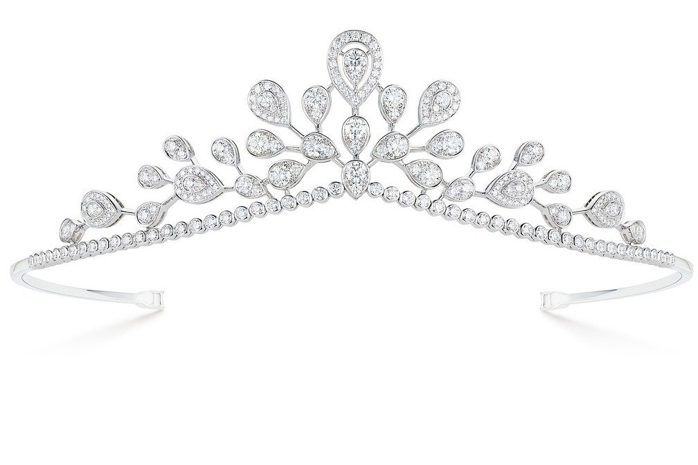 Josephine Aigrette Imperiale冠冕,18K白金鋪鑲明亮...